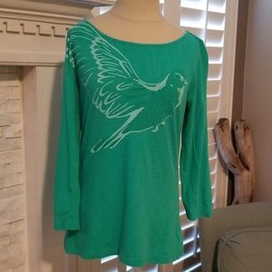 Old Navy ~ Green Graphic Tshirt 3/4 Sleeve